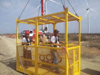 Personnel Basket in the field, 1500 lb capacity, 4 person basket. ELT Lift